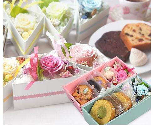 プリザ2種・焼き菓子・バウムの豪華スイーツセット!