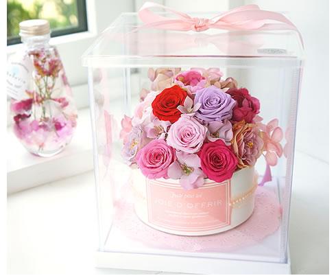 バラのお花で出来たキュートなフラワーケーキ プリザーブドフラワー フラワーケーキ ローズタイプ