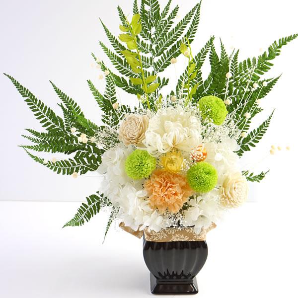 和風 プリザーブドフラワー 仏花 多宝如来(たほうにょらい)花器付