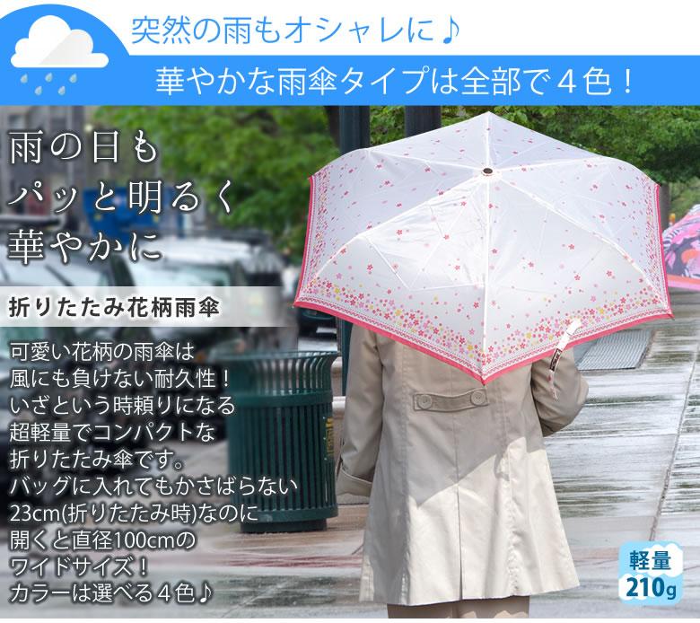 折り畳み花柄雨傘