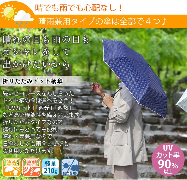 晴雨兼用ドット柄傘