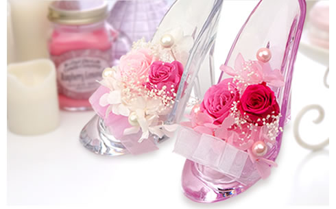プリザーブドフラワー かわいいガラスの靴
